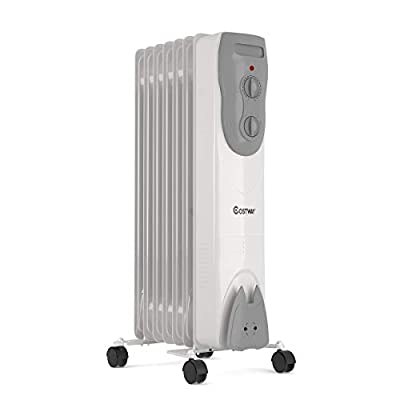 COSTWAY Oil Filled Radiator Heater, 1500W Portable Electric Space Heater with 3 Modes, Wheels, Adjustable Thermostat, Tip-Over & Overheat Protection, Quiet Heater for Indoor Home & Office, Gray