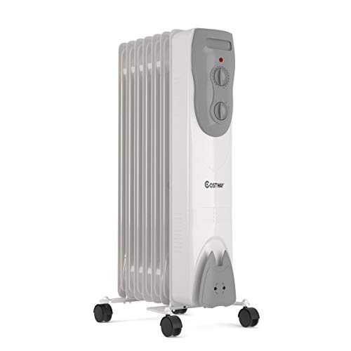 COSTWAY Oil Filled Radiator Heater, 1500W Portable Electric Space Heater with 3 Modes, Wheels, Adjustable Thermostat, Tip-Over & Overheat Protection, Quiet Heater for Indoor Home & Office, Gray Heater Portable Space