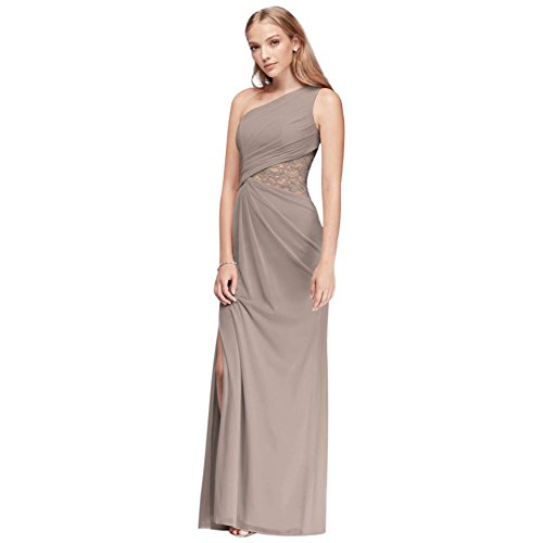 One-Shoulder Mesh Bridesmaid Dress with Lace Inset Style F19419, Biscotti, 20