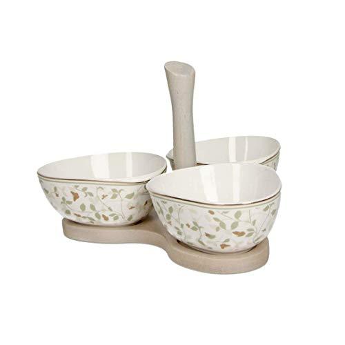 BRANDANI Juego de 3 platos para aperitivos con alas doradas, de porcelana. Medidas: 19,5 x 20 x 12,5 (altura) cm.