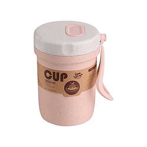 Fiambreras Para Niños 300 ml Caja de sopa sellada Fugas a prueba de fugas Lunchbox Ecoamiliares Accesorios Redondos Comida Comida Prepare Bento Box Microondavable Almuerzo Cajas ( Color : Pink )