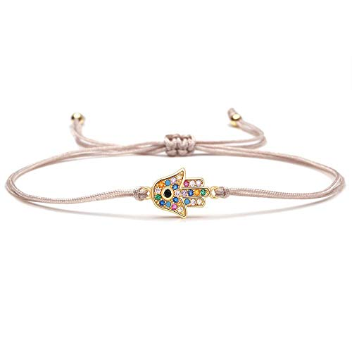 Cute little multi-colored cubic zirconia Hamsa hand-carrying charm bracelets for women and girls colorful copper CZ Fatima hand ornaments gift