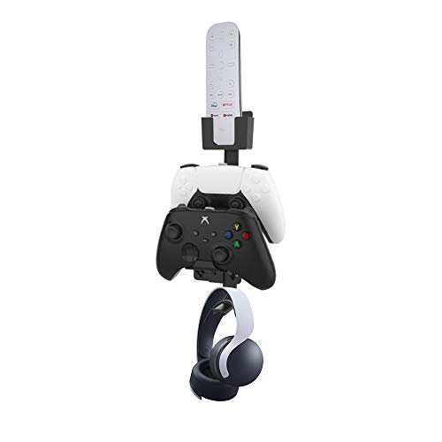 EJGAME Dual Game Controller & Headphone & Media Remote Stand Wall Mount Holder for PS5,/PS4/Xbox ONE/Series X/Switch,Stay Organized(Black)
