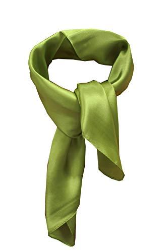 Silk square scarf pure color head scarf blend neckerchief (sage)