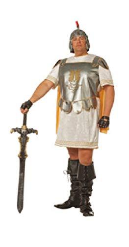 narrenkiste W5511-54-A - Disfraz de gladiador para hombre (talla 54), color blanco, plateado y dorado