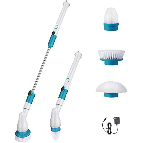 Wangy Spin Scrubber Electric Cordless Power Bathroom Scrubbing Brush with 3 Replaceable Floor Cleaning Brush Heads (UK)