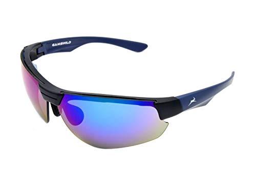 Gamswild WS3032 Sonnenbrille Skibrille Fahrradbrille Unisex Herren Damen   blau   grün   weiß, Farbe: Blau