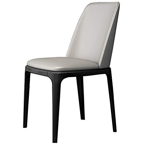 WHOJA Sillas de Comedor Muebles de cocina Asiento tapizado de PU Respaldo mesa de comedor y sillas Pata de metal Silla de cocina Teniendo peso 150 kg 50x40x86cm Sillas de esquina (Color : Gray)