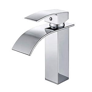 wovier cromo cascada lavabo mezclador grifo sola manija solo agujero baño grifo del fregadero