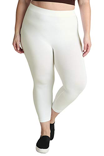 NIKIBIKI Women Seamless Basic Capri Legging Tights, Made in U.S.A, Plus Size (Ivory)
