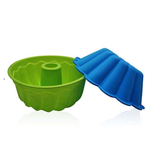 9inch Silicone Bundt Pan Cake Fluted Molds Tube for Baking85 inch NonStick Round Cake Baking Flexible PanRound Cake Bakeware Baking Molds 2packbule/green