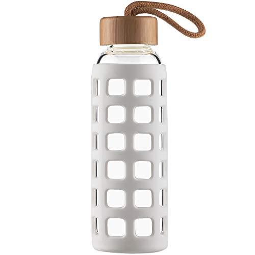 Cleesmil Sport Trinkflasche Glas Wasserflasche mit Silikonhlle mit Bambus Deckel 660 ml Wei