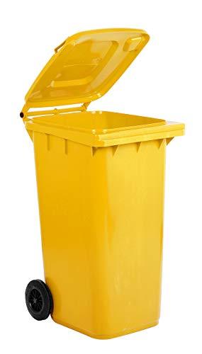 Bidone carrellato per la raccolta differenziata rifiuti Mobil Plastic 240 Lt per uso esterno - giallo (UNI EN 840)