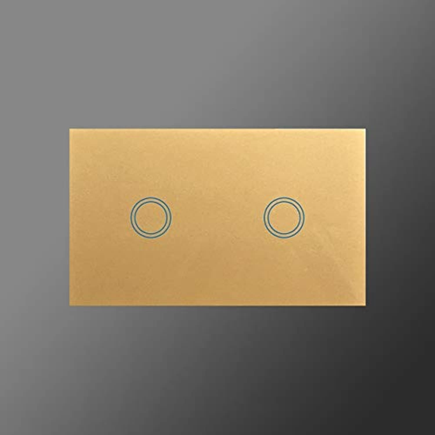 2 Gang 1 Way Crystal Glass Panel Touch Switch 240v,HUANGXING high Quality US AU Standard 1000W Wall Light Switch & Led Indicator  (color  gold)