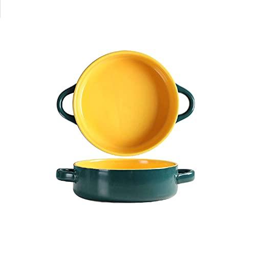 DLILI Cuencos de cerámica para Sopa de Cebolla Francesa con asa, Cuencos Apilados Cuenco para Hornear Lavaplatos Taza de Sopa Apta para microondas para Cereales Stew Chill-D-750ml / 25.4OZ
