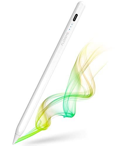 タッチペン iPad ペン FLOVEME 極細 超高感度 スタイラスペン LED電量表示/パームリジェクション/傾き感知/磁気吸着/5分自動オフ機能対応 Type-C充電 軽量 2018-2021年iPad 第8世代 第7世代 第6世代/iPad Pro/iPad air/iPad mini対応 替え芯2枚 ホワイト