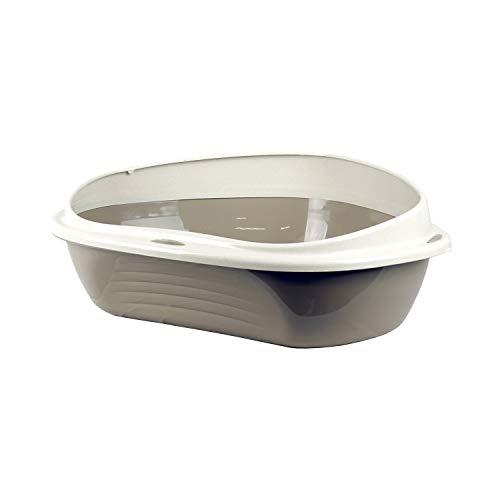 PATAM Lettiera per Gatti con Bordo Salva Sporco – Toilette per Gatti Aperta con Design Angolare Salvaspazio 58 x 48 x 20,5 cm Corner Maxi Beige