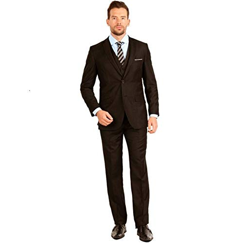 GFRBJK Made Bräutigam Hochzeitsanzug Braun Revers 3 Stück Smoking Groomsmen Suits (Jacke + Hose + Weste + Krawatte) , Braun , 5XL