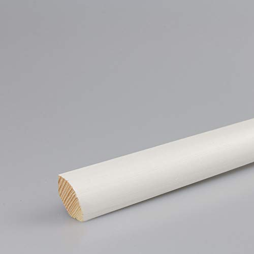 Viertelstab Bastelleiste Abschlussleiste Abdeckleiste in weiß lackiert aus Kiefer-Massivholz 2400 x 14 x 14 mm