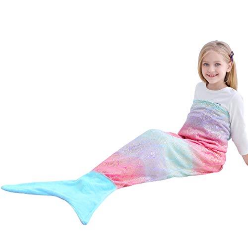 VHOME Sirena Coda Coperta per Bambino Caldo Salotto Divano Genera Coperta per Regalo di Natale e Compleanno (Bambino 145cm x 60cm, V9-Arcobaleno/Blu)