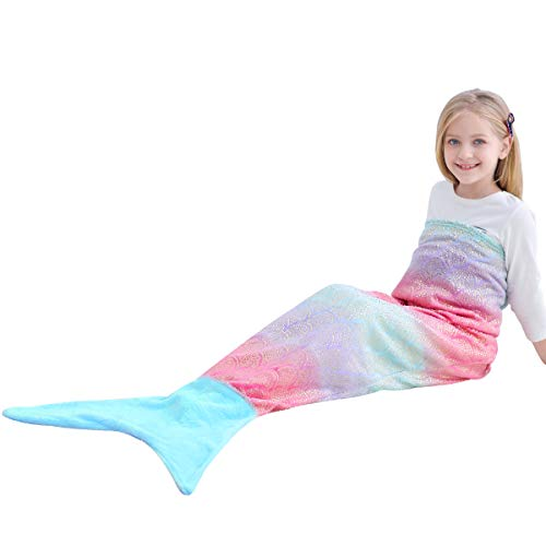 VHOME Kinder Meerjungfrau Decke Geschenke Beste - Personalisierte Warmes Wohnzimmer Sofa Decke Schlafsack Spielzeug Jugend Für Weihnachts Geburtstagsgeschenk (V2-Goldblau, Kinder 145cm x 60cm)