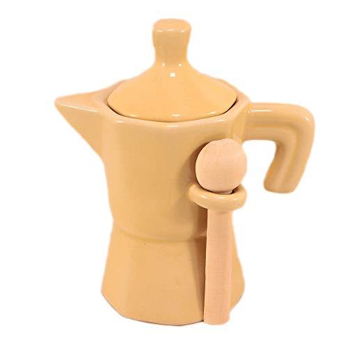 Zuccheriera a Forma di Moka Beige Barattolo in Ceramica con cucchiaino in Legno.