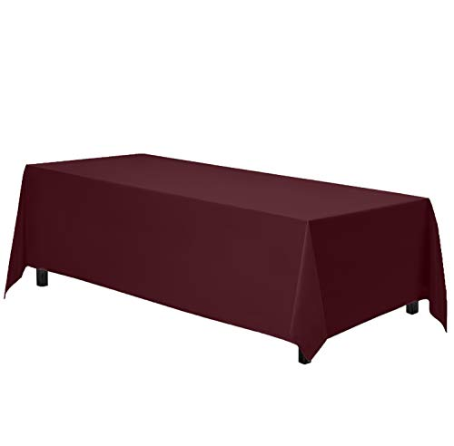 """Gee Di Moda Rectangle Tablecloth - 90 x 132"""" Inch - Burgundy Rectangular Table Cloth for 6 Foot Table in Washable Polyester - Great for Buffet Table, Parties, Holiday Dinner, Wedding & More"""