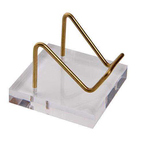 VILLCASE Soporte de Exhibición de Acrílico Base de Acrílico de Cristal con Estante de Metal Creativo Soporte de Joyería Soporte de Piedras Preciosas Minerales Ágata Citrino Soporte de Bola