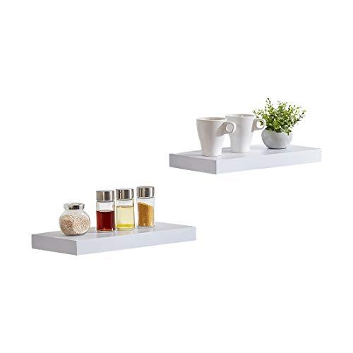 Sunon Wandregal Wandboard 40 x 20 x 3,8 cm Hängeregal, dekoratives Schweberegal für Bad, Küche, Wohnzimmer, MDF Holz ((Weiß lackiert, im 2er Set)