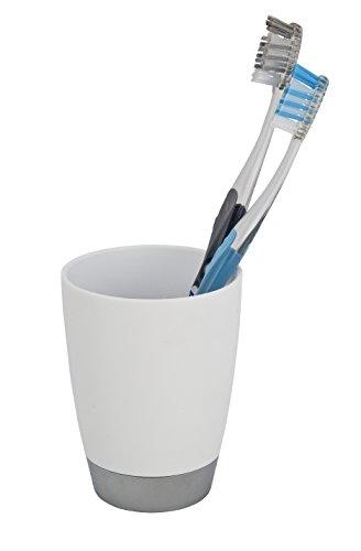 WENKO 19477100 Zahnputzbecher Vercelli - Zahnbürstenhalter für Zahnbürste und Zahnpasta, Polypropylen, 8 x 13 x 8 cm, Weiß
