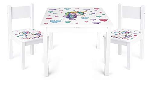 Leomark Yeti Tavolo e 2 sedie in Legno, tavolino Set da cameretta per Bambini, Gioco di Gruppo in Classe, mobili per Bambini, Stanza dei Bambini mobili Alta qualità Stabile, Tema: Unicorno