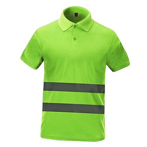 Gazechimp Herren Atmungsaktiv shirt T Shirt Hemd Sicherheitshirt Arbeitskleidung, Hoch Visability - Grün, XXL