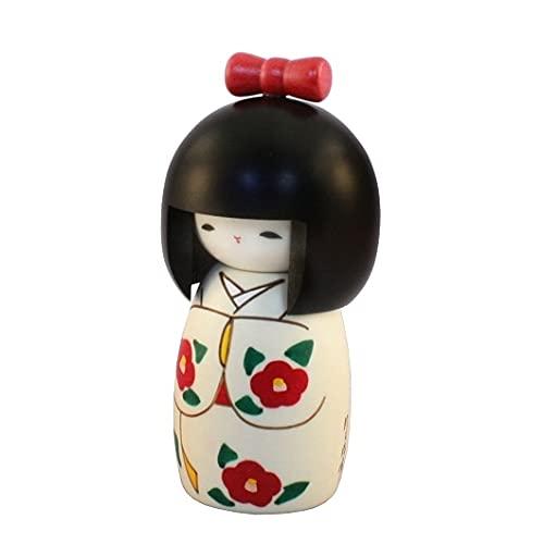 Muñeca Kokeshi japonesa auténtica y tradicional, diseño de cinta, hecha a mano y fabricada en Japón