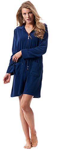 Morgenstern Bademantel Damen mit Reißverschluss und Kapuze Blau Dunkelblau Saunamantel XL Baumwolle Frauen weich frottee zipp übergröße kurz leicht