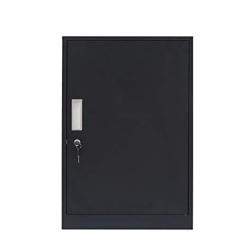 Archiefkast lage kast metalen bureaukast bed-opslag-kast-opslag-kabinet-aktak met sluiting Lostgaming zwart