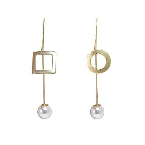 Pendientes De Gota De Mujer - Pendientes De Gota De Perlas Geométricas Asimétricas, Pendientes De Metal Contraídos De Temperamento De Moda Con Encanto Femenino, Accesorios De Joyería Irregulares