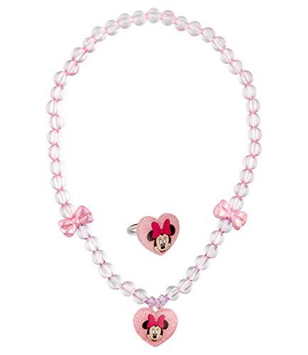 SIX Juego de collar con colgante de plástico con diseño de Minnie Mouse y lazos, para niños (559-114)