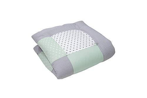 Alfombra para gatear de ULLENBOOM ® con menta gris (manta para bebé de 80x80 cm; ideal como colcha para el cochecito; apta como alfombra de juegos)