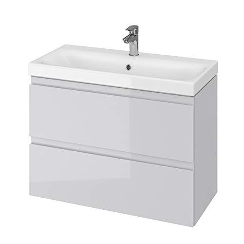VBChome Badmöbel Grau 80 cm Slim Waschbecken mit Unterschrank Waschtisch 2-Schubladen Moduo