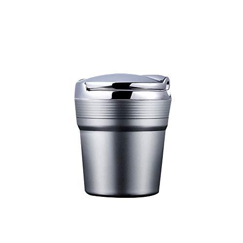Asbak auto asbak, geschikt voor thuis/binnen kantoor/buitenshuis/reizen zwarte kunststof met LED-lampen (goud, zilver, zwart) Zilver-7.5x9CM