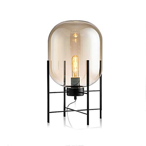 LightJH LED bureaulamp daglichtlamp, leeslamp, lampenkap van glas, plank van smeedijzer, lamphouder E27, slaapkamerlamp in decoratief design