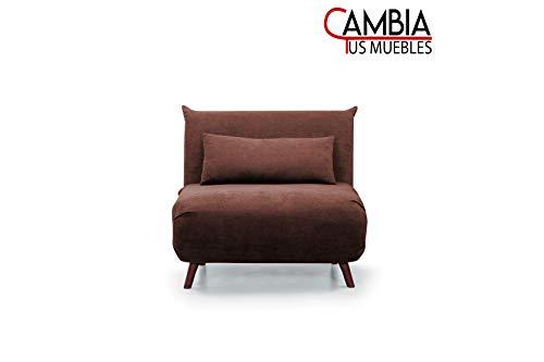 CAMBIA TUS MUEBLES - Sofá Cama Pegaso Plegable, sofá butaca Individual con Pata de Madera y tapizado en Tela (Marrón)