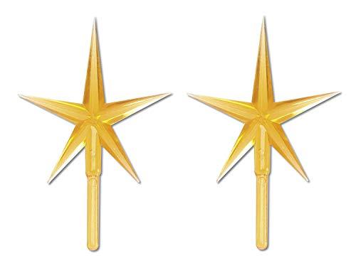 Darice, Gold P0681 2-Piece Ceramic Tree Star Ornament, 1 Pack