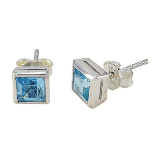 joyas plata topacio azul genuino piedras preciosas con forma de octágono tachuelas facetadas pendientes de plata de ley 925