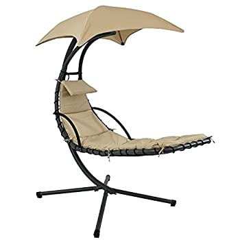 Sunnydaze Floating Chaise Lounger Swing Chair with Umbrella Canopy - Curved Steel Hammock Lounge Chair with Cushion and Pillow - Removable Cushion and Umbrella Shade - 82-Inch Tall - Beige