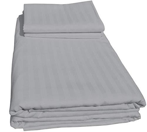 Juego de funda de edredón Euro Ikea King Size, 3 piezas, color gris claro (1 funda de edredón y 2 fundas de almohada) – Calidad de hotel 100% algodón con cierre y lazos (rayas grises, Euro Ikea King)