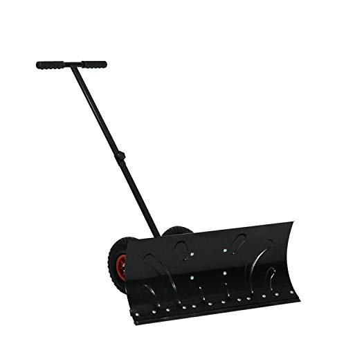 Lowest Price! MM Heavy Duty Steel Adjustable Rolling Snow Shovel Pusher with 10 Rubber Wheels