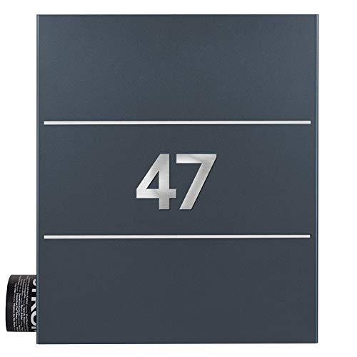 Briefkasten mit Zeitungsfach inkl. 2 Hausnummern anthrazit-grau (RAL 7016) MOCAVI Box 141 Postkasten Edelstahl-Detail V2A Wand-Briefkasten mit Zeitungsrolle modern deutsche Marken-Qualität