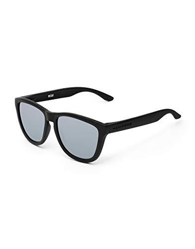 HAWKERS Gafas de Sol ONE Carbon Black, para Hombre y Mujer, con Montura Negra Mate y Lente Plata Efecto Espejo, Protección UV400