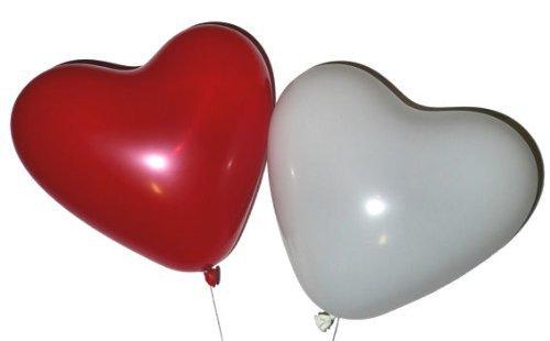 Lot de 10 ballons rouges et de 10 ballons blancs en forme de cœur adaptés herzballons lot de
